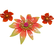 Vintage Orange and Yellow Enamel Metal Flower Pin