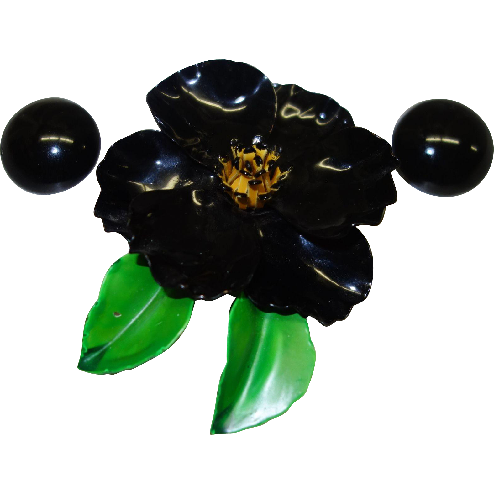 Large 1960's Black Enamel Metal Flower Pin