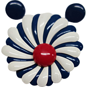 Large 1960's Red, White and Blue Enamel Metal Flower Pin
