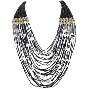Vintage Multi-Strand Black Seed Bead and Shell Necklace