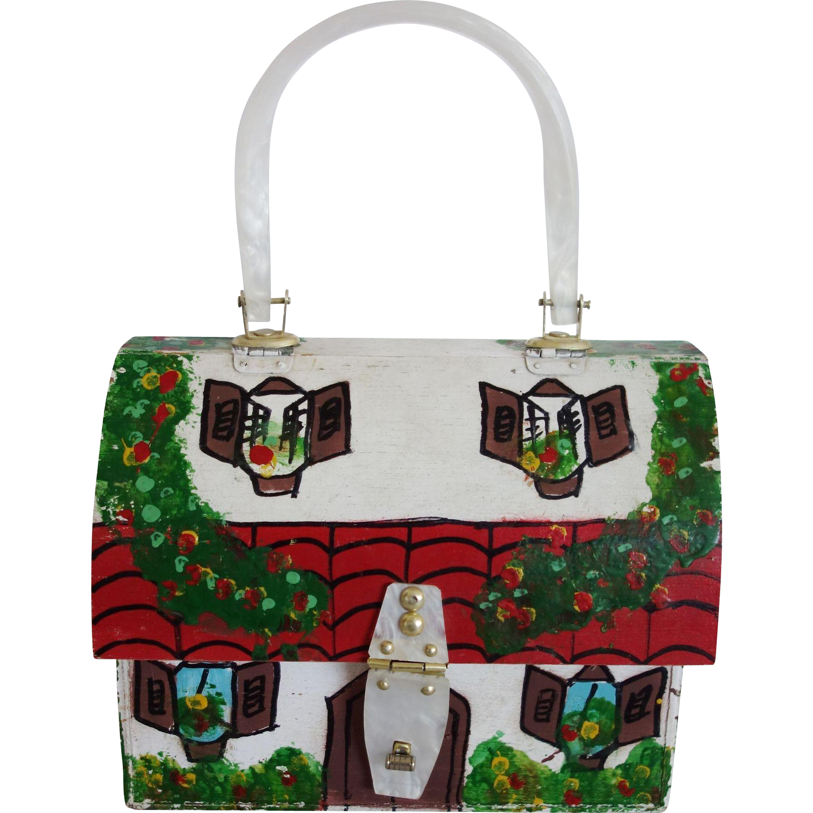 Vintage 1960's Simon Hand Painted Wooden and Lucite House Purse Styled by Mister Ernest
