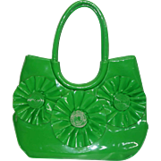HUGE Vintage 1960's Bright Green Vinyl Purse Tote Bag
