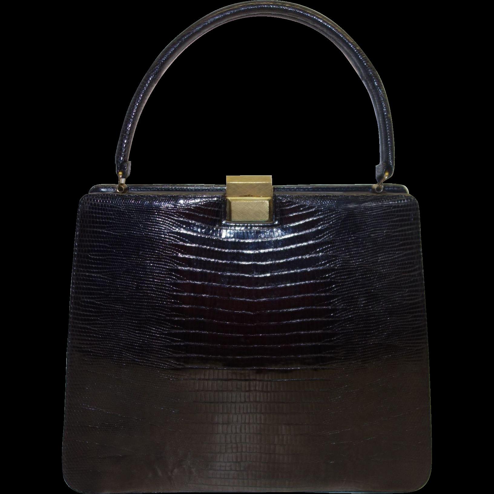 Vintage Bellestone Black Reptile Handbag