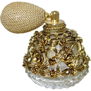 Vintage Gold Tone Filigree Clad Perfume Bottle