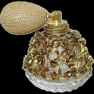 Vintage Gold Tone Filigree Clad Perfume Bottle