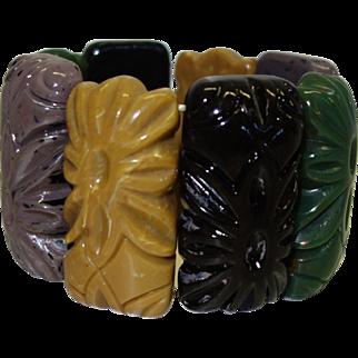Vintage Carved Lucite Stretch Bracelet