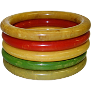 Five Marbled Bakelite Tube Bracelets