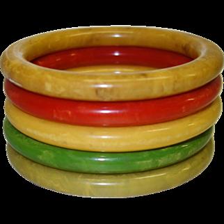 Five Marbled Bakelite Tube Bracelets