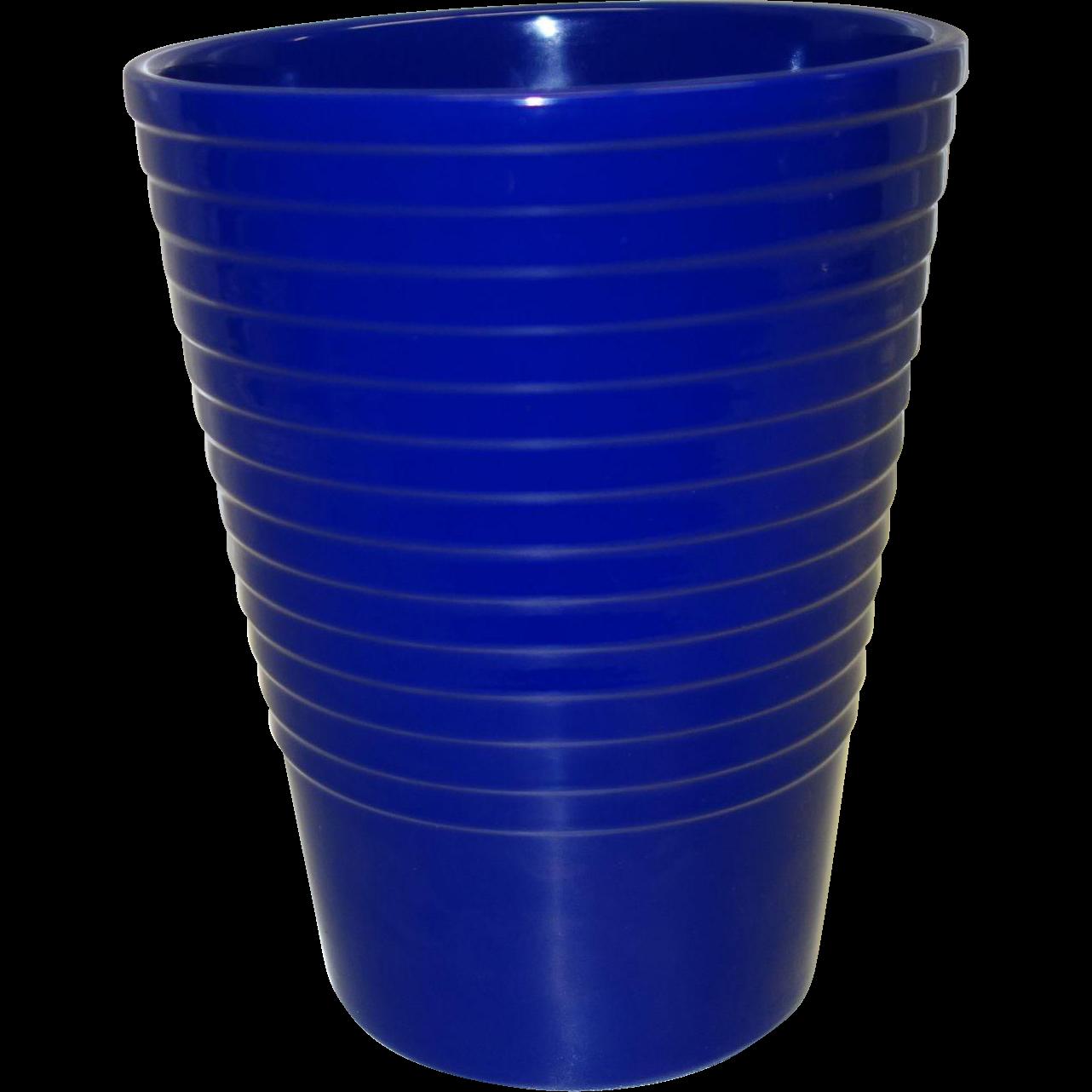 Vintage Ribbed Cobalt Blue Ceramic Vase Made in Germany