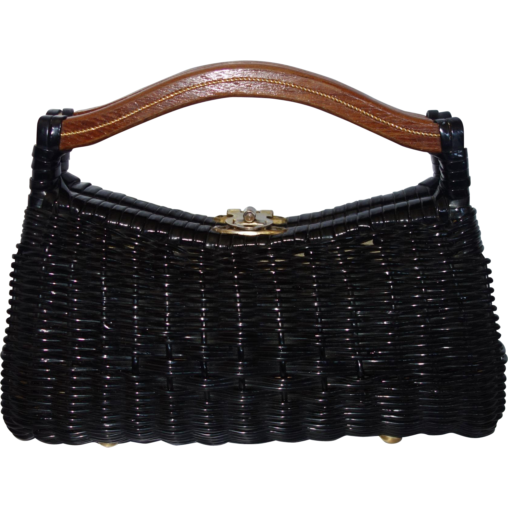 Vintage Small Black Wicker Purse with Wooden Handles