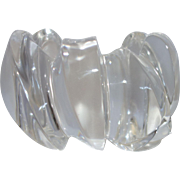Vintage Massive Modernist Clear Carved Lucite Cuff Bracelet