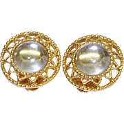 Vintage  Clear Glass Cabochon Earrings by Sarah Coventry