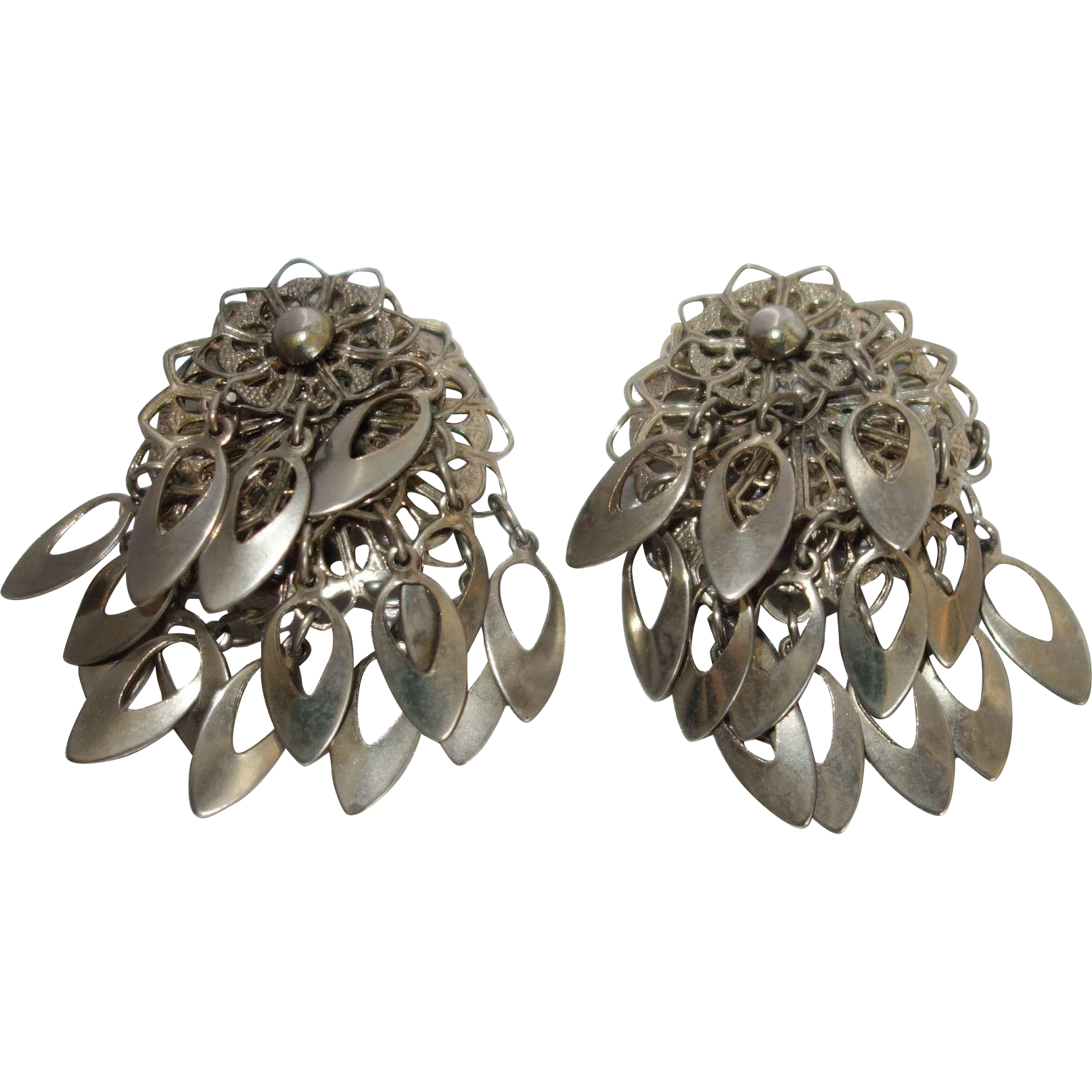 Vintage Silver Tone Metal Dangle Earrings