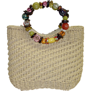 Vintage Straw Purse with Beaded Handles by Cappellia