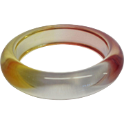 Vintage Domed Watercolor Resin Bangle Bracelet