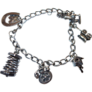 Vintage 1940's Charm Bracelet with Articulated Charms