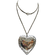 Vintage Large Silver Tone Metal Puffy Heart Pendant