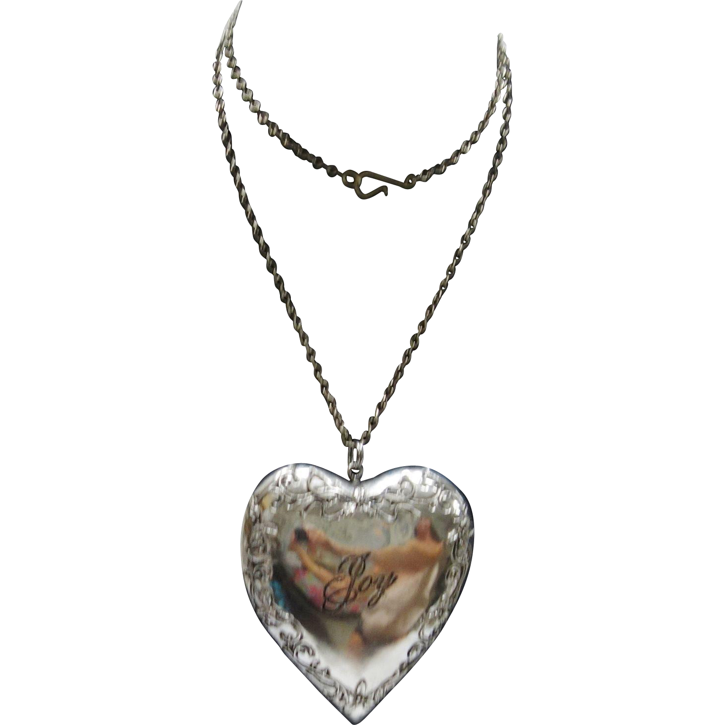 Vintage Large Silvertone Metal Puffy Heart Pendant