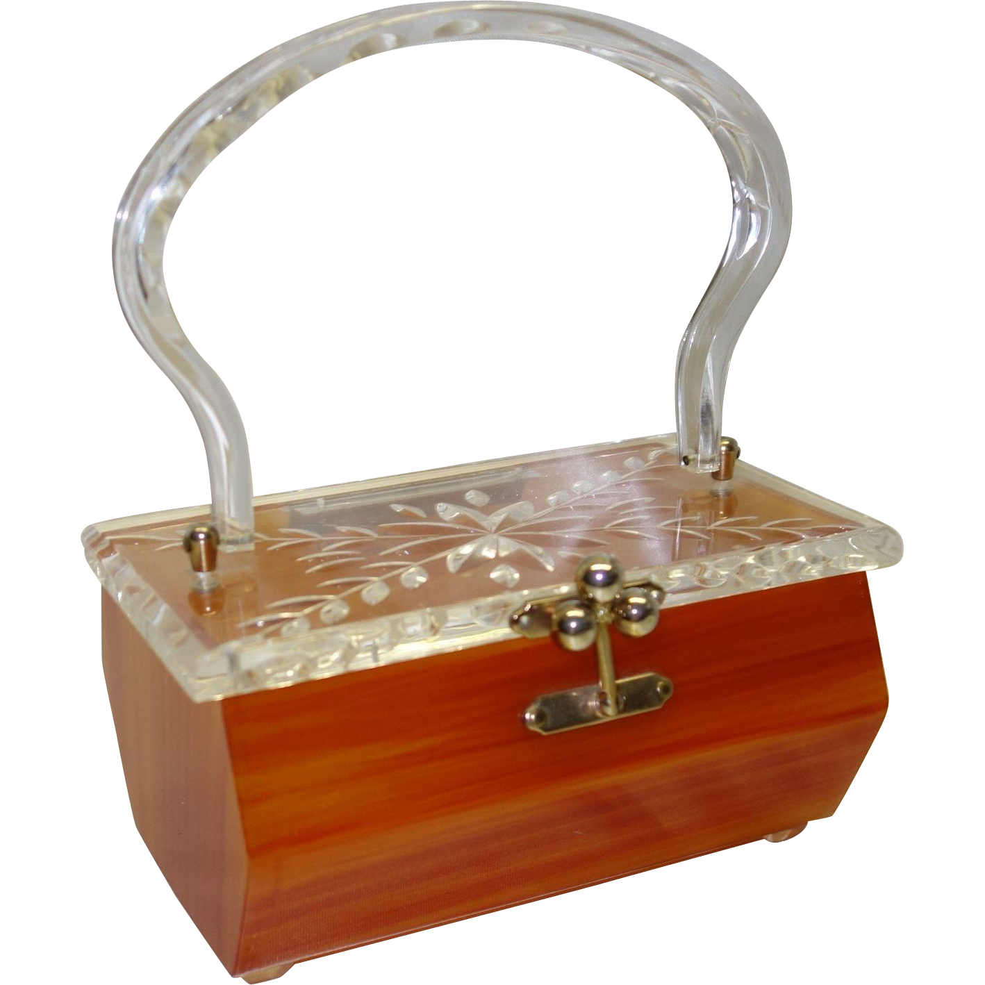 Vintage Carmel Lucite Purse with Clear Carved Lid by Charles S. Kahn
