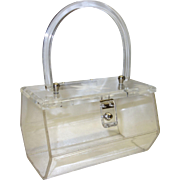 Vintage Clear Lucite Purse with Carved Floral Lucite Lid by Florida Handbags