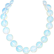 Vintage Beaded Prism Faceted Opalite Necklace