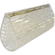 Vintage Clear Carved Lucite Clutch Purse