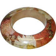 Vintage Laminated Wooden Bangle Bracelet in Fall Colors