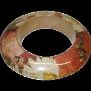 Vintage Laminated Wooden Bangle Bracelet in Fall Colors