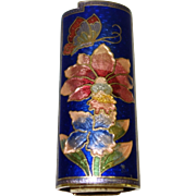 Vintage Royal Blue Floral Cloisonne Lighter Cover
