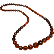 Vintage Extra Long Faux Tortoiseshell Lucite Beaded Necklace