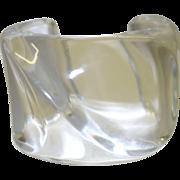 Vintage Clear Lucite Cuff Bracelet Signed EL