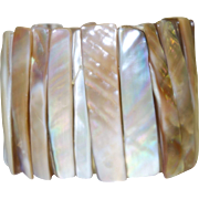Vintage Wide Mother of Pearl Stretch Bracelet