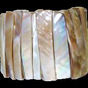 Vintage Wide Mother of Pearl Stretch Bracelet