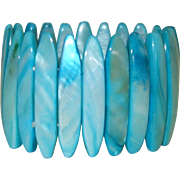 Vintage Blue Mother of Pearl Stretch Bracelet