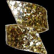 Vintage Gold Tone Confetti Lucite Bypass Bracelet