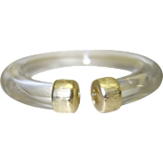 Vintage Clear Lucite Tube Bracelet with Gold Tone Metal End Caps