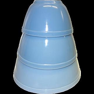 "Vintage Pyrex Delphite Blue ""Bluebelle"" Bowl Set"