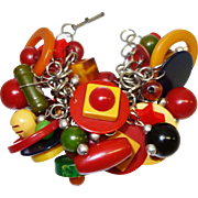 Vintage Absolutely LOADED Bakelite Charm Bracelet