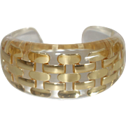 Clear Resin Cuff Bracelet with Embedded Gold Tone Metal Links