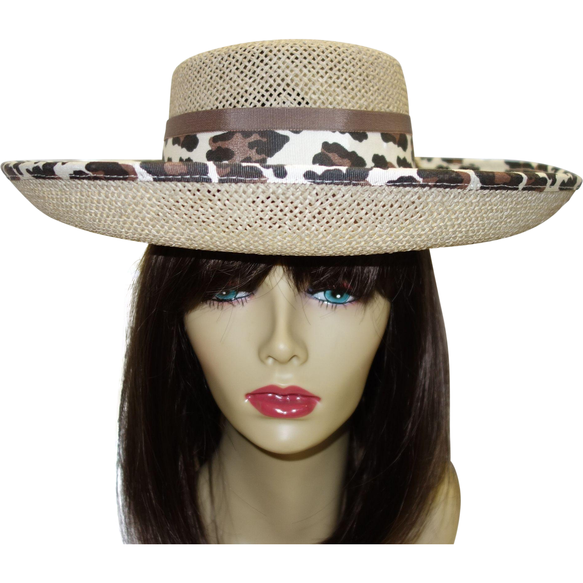 Vintage Structured Straw Hat with Upturned Brim  by Sonni San Francisco MINT