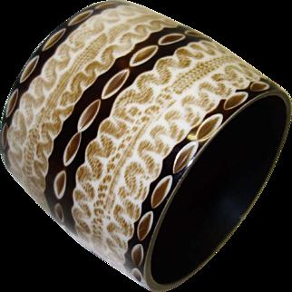 Wide Vintage Laminated Print Resin Bangle Bracelet