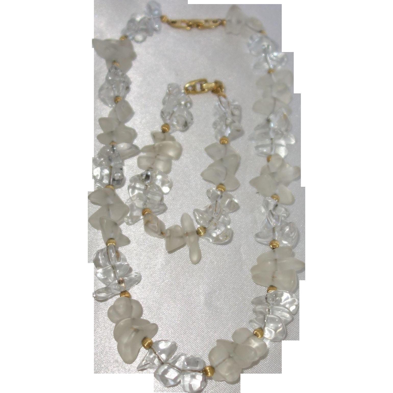 Vintage Napier Clear Lucite Nugget Necklace and Bracelet Set