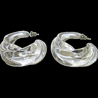 Clear Sculptural Lucite Pierced Earrings