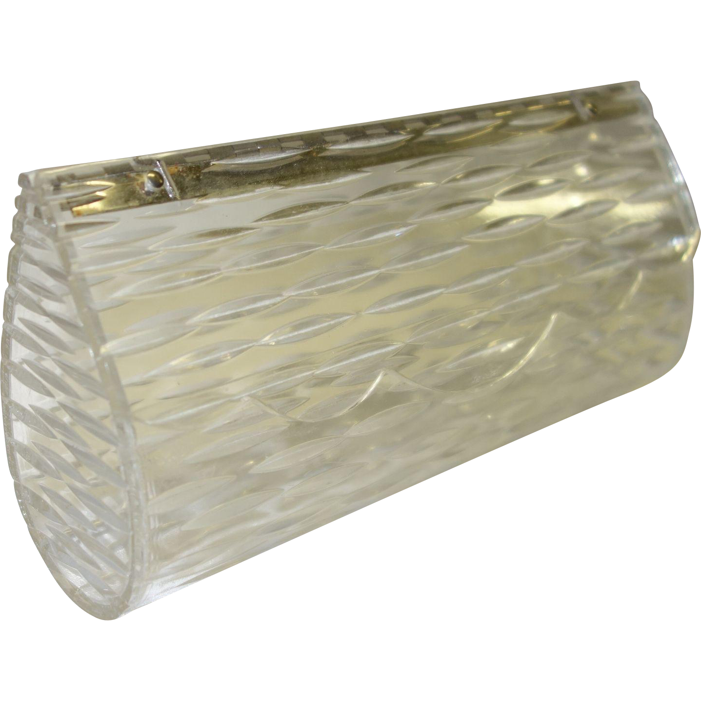 Vintage Clear Carved Hinged Top Clear Lucite Clutch Purse