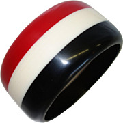 Vintage Red, White and Black Striped Resin Bangle Bracelet