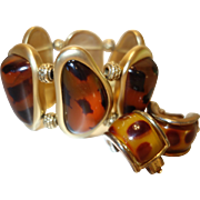 Vintage Faux Tortoiseshell Stretch Bracelet and Earring Set