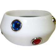 Vintage White Lucite Bracelet with Bezel Set Rhinestones by RJ Graziano