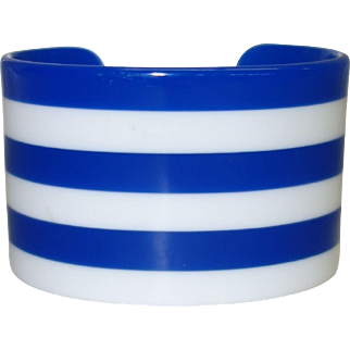 Vintage Blue and White Striped Lucite Cuff Bracelet