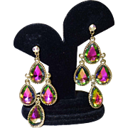 Vintage Watermelon Rhinestone Dangle Earrings
