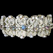 Vintage Enamel and Aurora Borealis Rhinestone Bracelet Signed ART